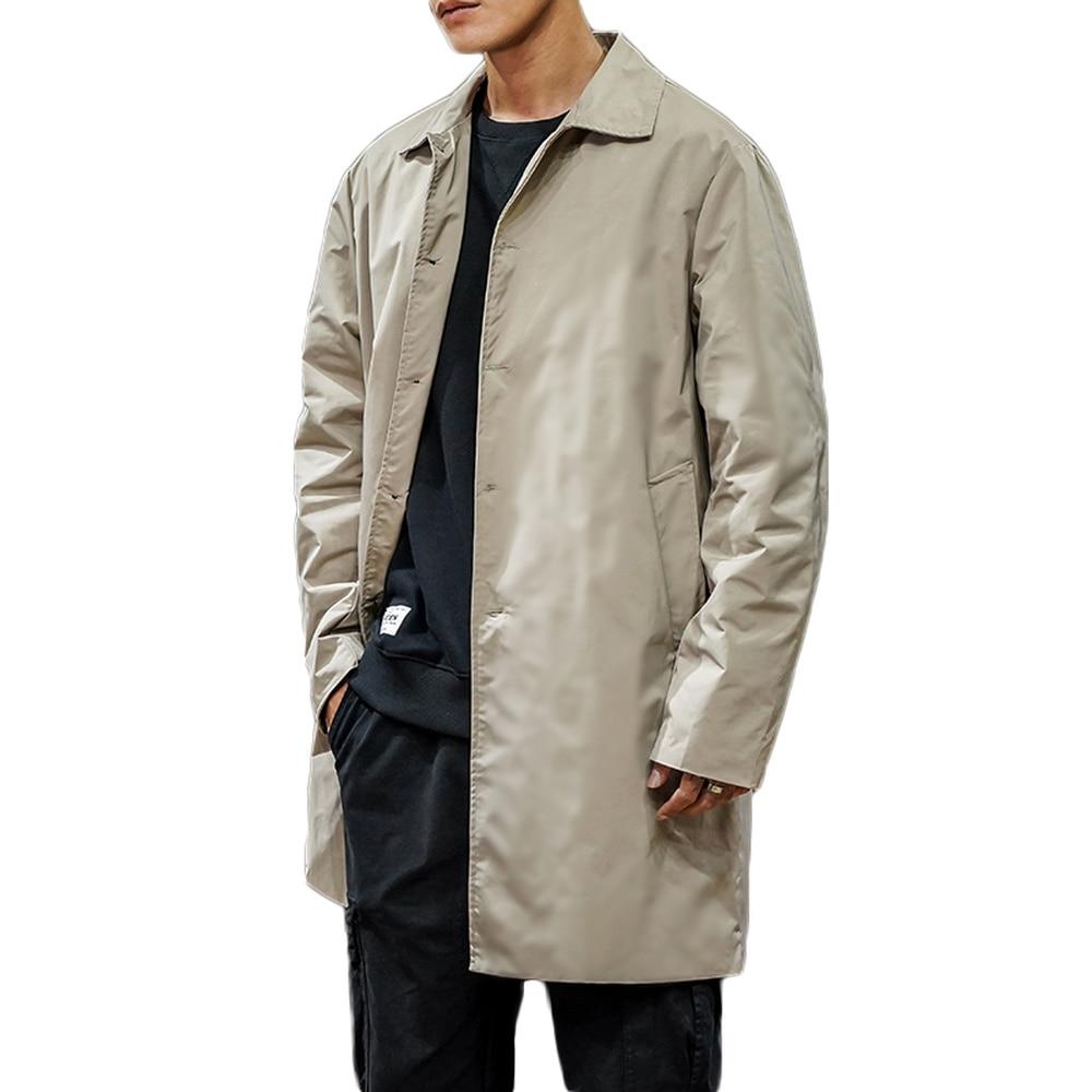 Men's Clothing 2019 Single Breasted Medium-Long Trench Coat Male Solid Color Khaki Coat Windbreaker Plus Size 5XL Coat