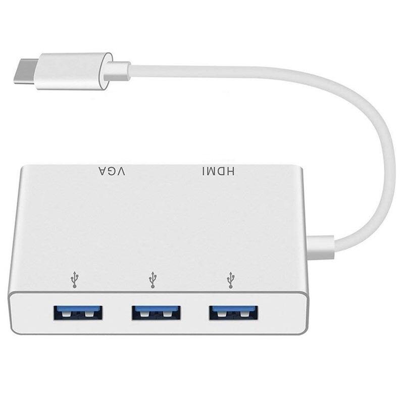 USB Type C To HDMI/USB 3.0 Adapter,USB 3.1 Type C Adapter 4K HDMI Digital AV Multiport Adapter,Thunderbolt 3 Compatible,USB C HU