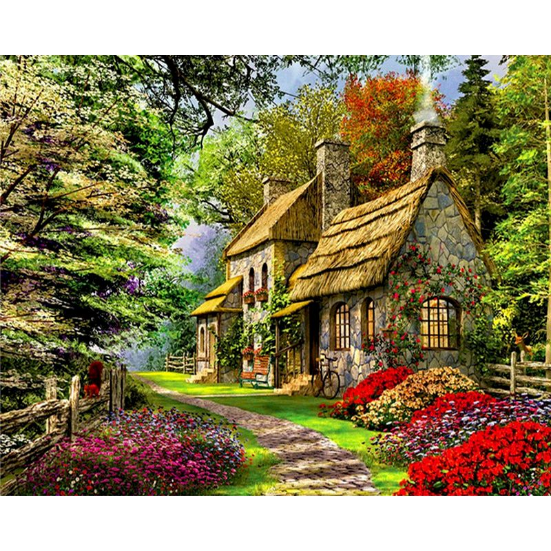 RUOPOTY Forest Path Diy quiet countryside cabin Landscape Canvas Wedding Decoration Art Oil Painting On Canvas For Home Decor-0
