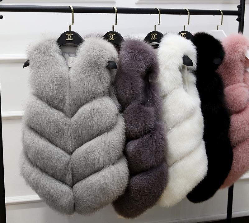 2020 New Fashion Faux Fur Coat Winter Coat Women Waist Coat Fur Gilet Women's Fur Jacket Fur Vest For Ladies