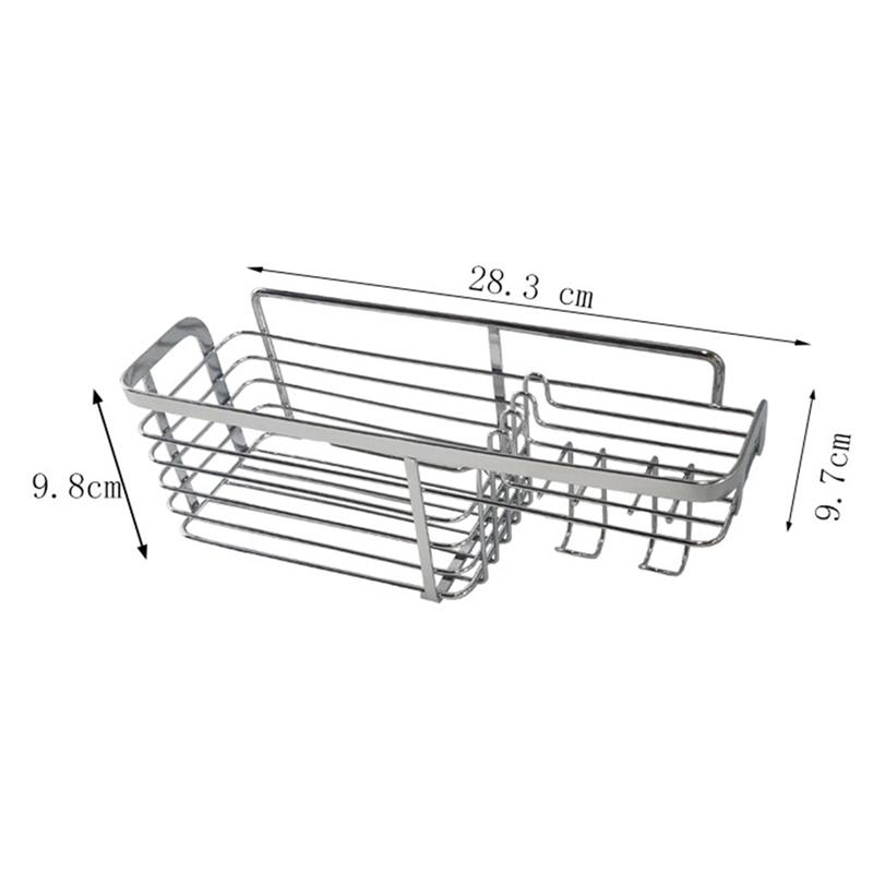 Image 2 - Adhesive Bathroom Shelf Organizer Shower Caddy Kitchen Storage Rack Wall Mounted No Drilling Stainless Steel Wire Basket HookBathroom Shelves   -