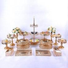 17 pçs conjunto de suporte de bolo de metal de cristal acrílico espelho cupcake decorações sobremesa pedestal bandeja exibição festa de casamento