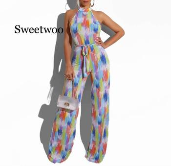 2020 New Summer Women Rompers Tie Dye Print Halter Neck Open Back Straight Jumpsuit Sexy Night Club Party Playsuit Bodysuit tropical print open back halter top