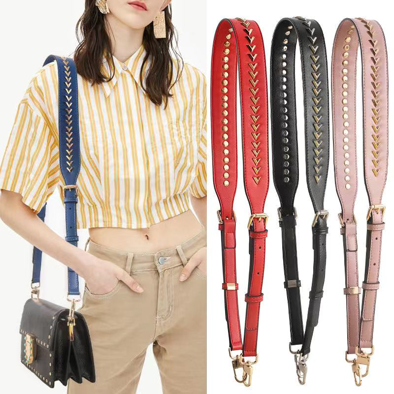 Bag Belt Female Bag Accessories Cowhide Wide Shoulder Belt Original V Nail Backpack With A Cross-body Bag Strap Feminina