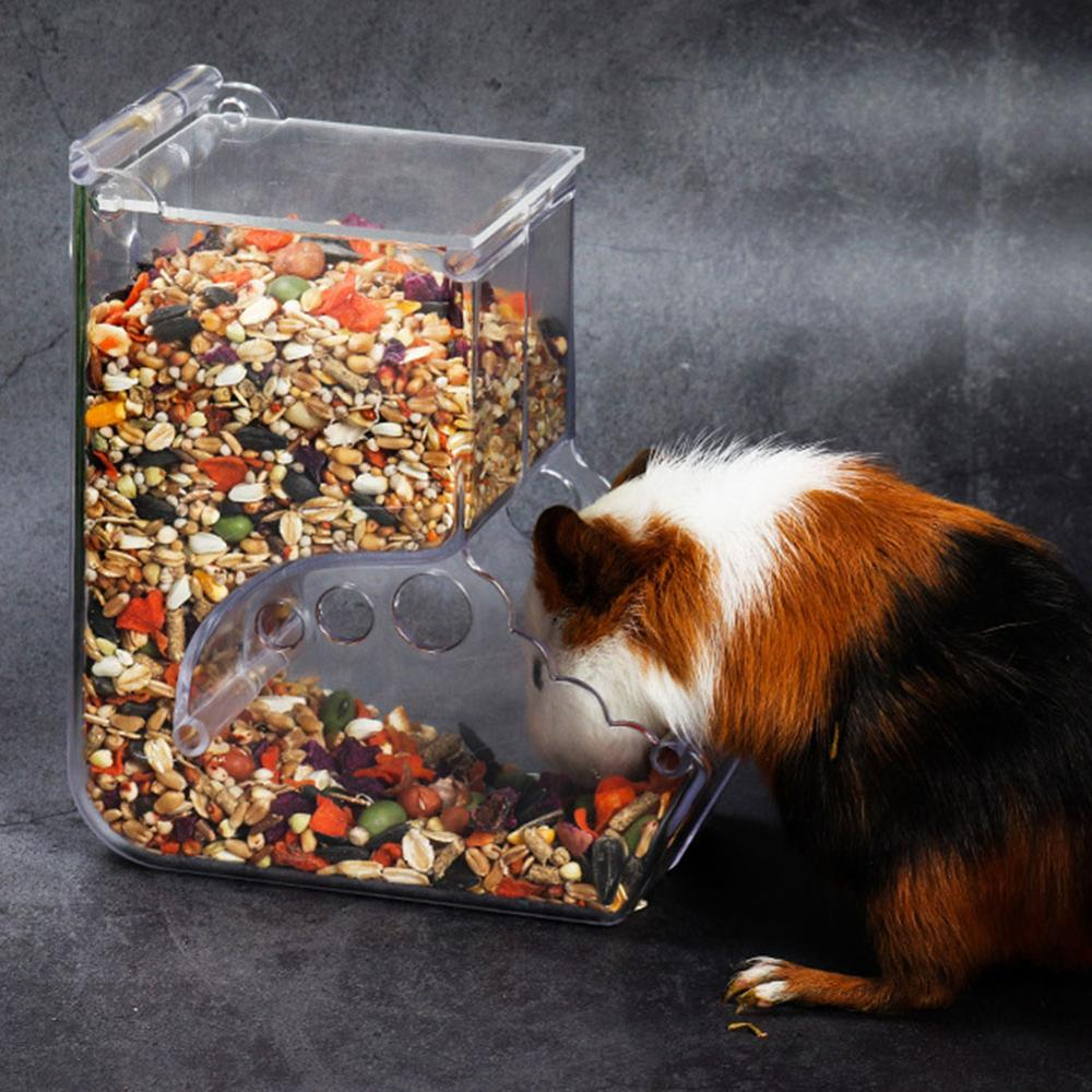 Hamster Rabbit Food Dispenser Feeder Plastic Clear Automatic Pet Feeder For Hamster Guinea Pigs Food Bowl Container
