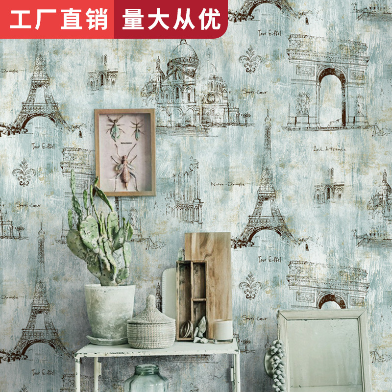 Restaurant Clothing Store Wallpaper Bar Industrial-Style Wallpaper American Vintage Nostalgia Eiffel Iron Tower Cool Wallpaper