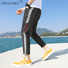 HENCHIRY New Tide brand embroidered casual jeans Men's Stretch Loose fit Leisure Jeans Denim Pant Style Trouser
