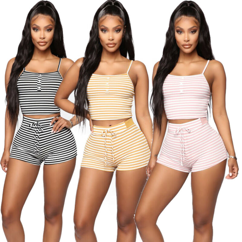 2020 Women Sexy Sleeveless Striped 2pcs Strap Crop Top+Shorts Elastic Waisted Holiday Beach Suit Size S-XL
