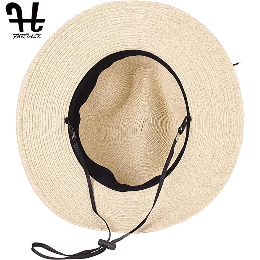 FURTALK Summer Hat for Women Straw Beach Hat Panama Sun Hats Fedora Bucket Caps for Female Summer Beach UV Cap chapeau femme 5