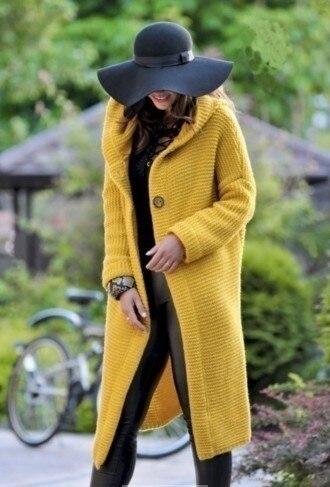 Women Long Cardigan Solid Knitted Hooded Sweater 2021 Autumn Winter Female Coat Plus Size 5XL Casual Streetwear Loose Coat 5