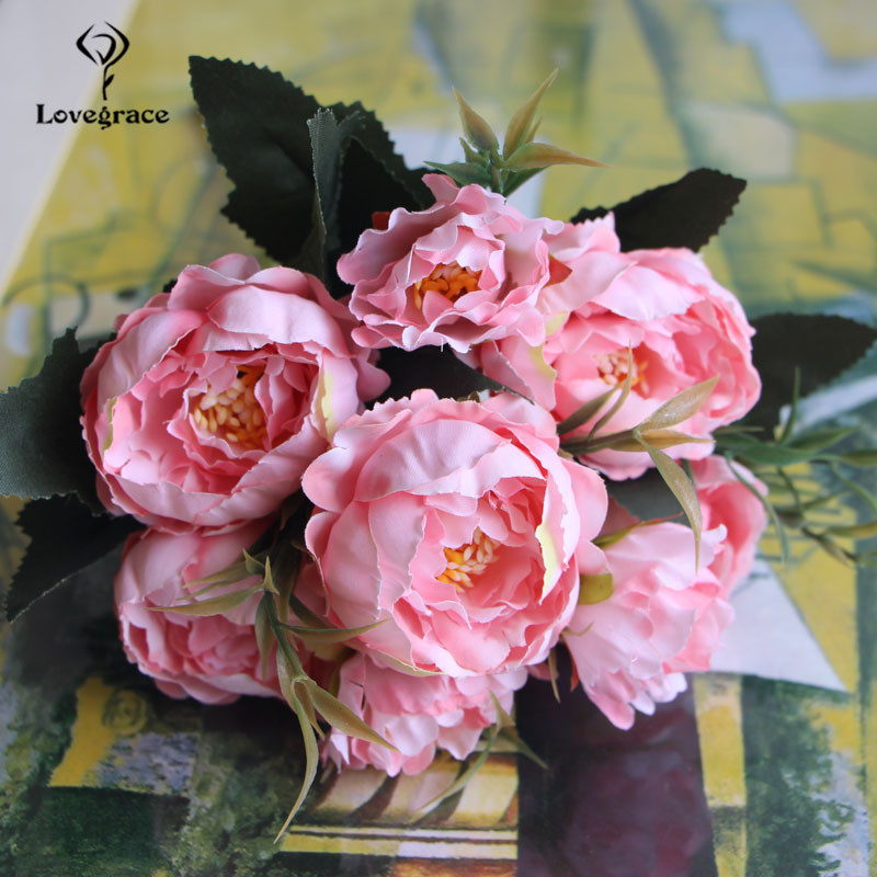 8 Heads Silk Artificial Peonies flowers for Wedding Marriage DIY Decor Small Craft Flower Peony Mini Fake Flowers for Home Decor 6