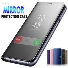 Luxo espelho inteligente caso da aleta para samsung galaxy m31 m21 a21s a11 a21 a31 a41 a51 a71 suporte capa do telefone em m 31 a 21 51 71 coque
