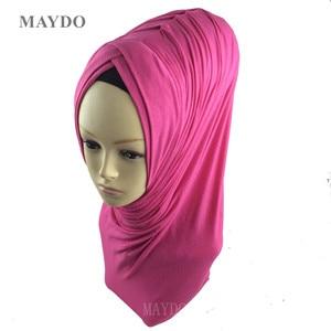 Image 5 - TJ29 1   Fashion Fold Muslim Hijab Headband Pashmina Muslim Shawl