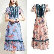 Elegance Woman Dress Women Chic Bow Lace Patchwork Slim Dresses