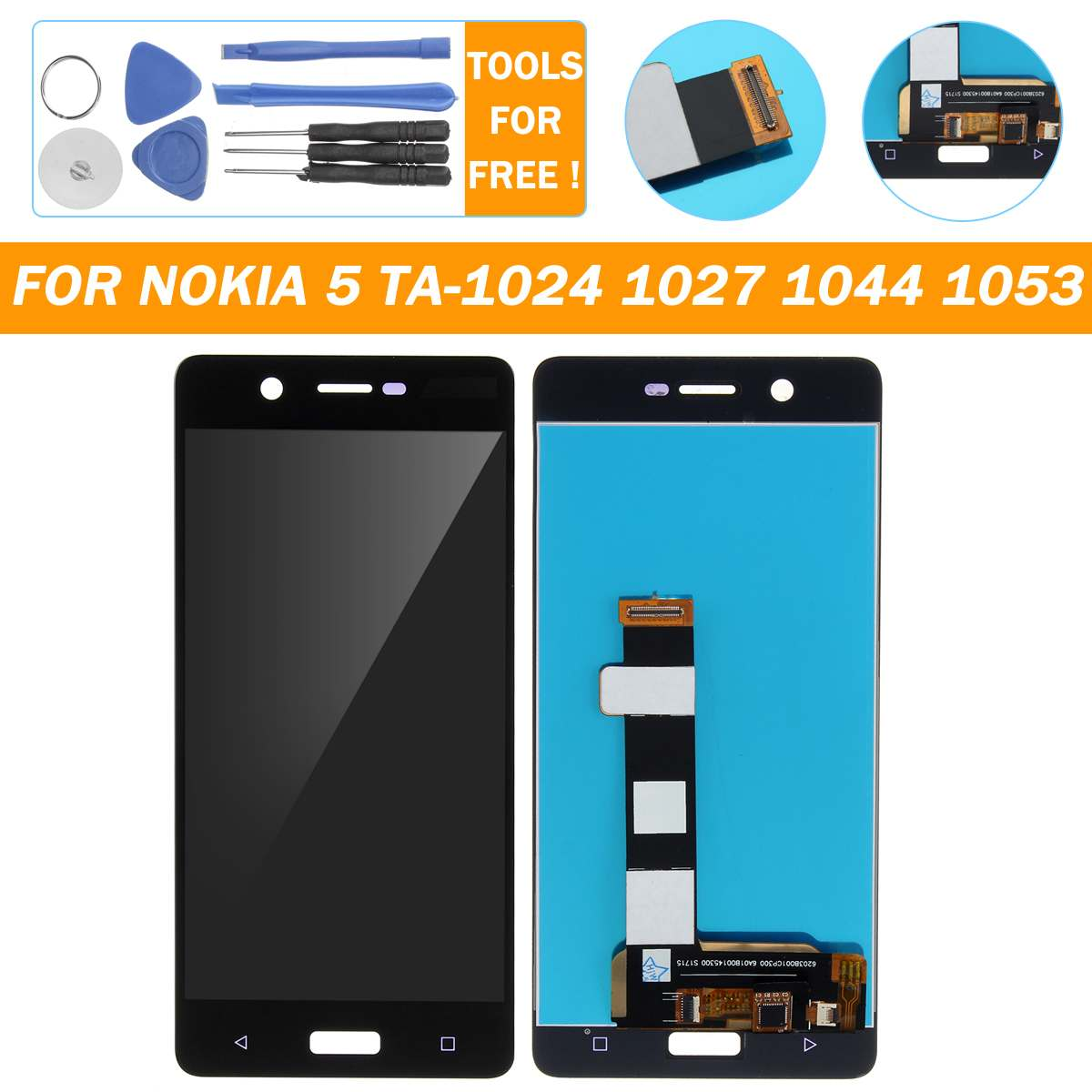 LEORY LCD Display+Touch Screen Digitizer Assembly Screen Replacement For Nokia 5 <font><b>TA</b></font>-1024 1027 1044 <font><b>1053</b></font> Mobile Phone Fix Tools image