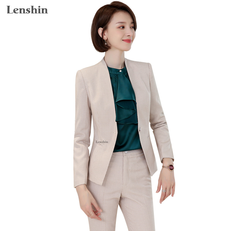 Lenshin High-quality 2 Piece Set Houndstooth Formal Pant Suit Blazer Office Lady Design Women Plaid Jacket and Full-Length Pant 19