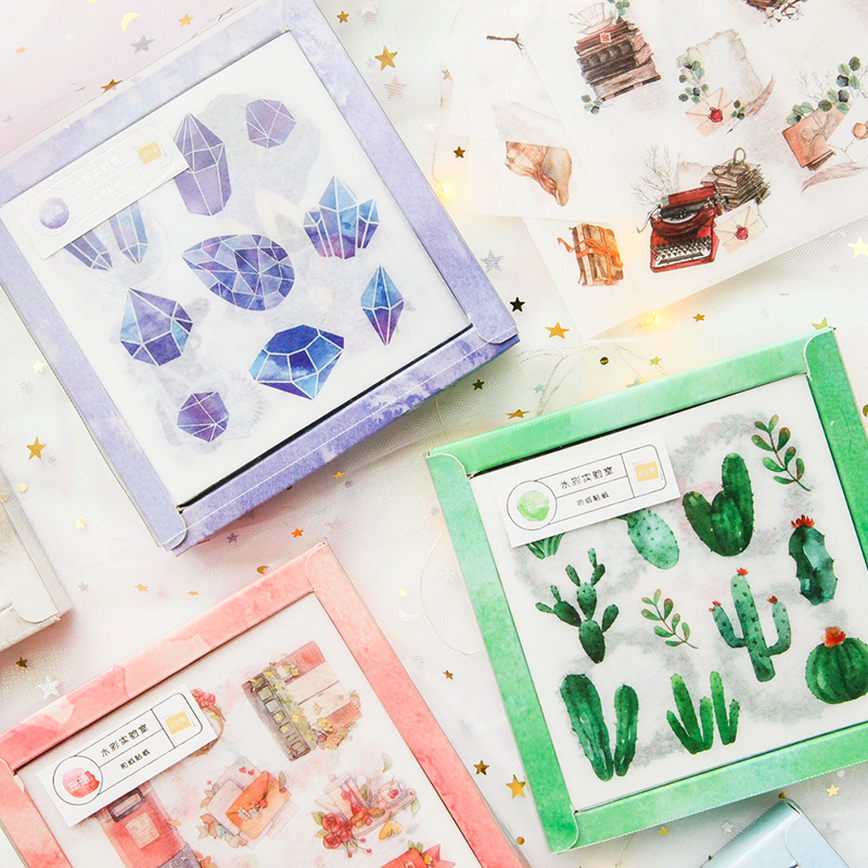 Kawaii Vivid Watercolor Laboratory Box Packaged Stickers Set Decorative Stationery Diary Stickers Scrapbooking DIY Diary Album