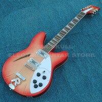 Ricken electric backer guitar cherryburst 12 strings semi hollow body jazz electric guitar customized logo hardcase available