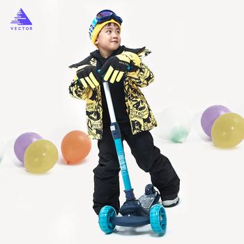 VECTOR Professional dziecięca kurtka narciarska spodnie ciepłe wodoodporne chłopcy dziewczęta Outdoor narciarstwo snowboard Winter Ski zestaw dla dzieci tanie i dobre opinie Dobrze pasuje do rozmiaru wybierz swój normalny rozmiar CN (pochodzenie) HXF70044 HXF70045 W stylu rysunkowym COTTON Boys Girls
