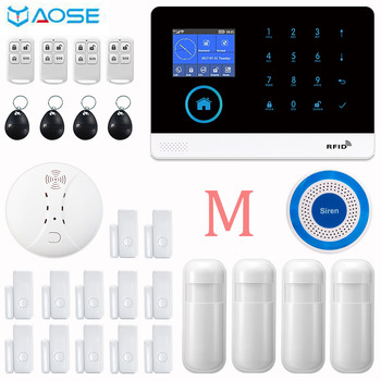 YAOSE Wireless Home Security GSM WIFI Burglar Alarm With Fire Smoke Detector Motion Sensor For IOS Android alarm System yobang security wireless home security wifi android ios app alarm system with wireless indoor siren wireless smoke detector