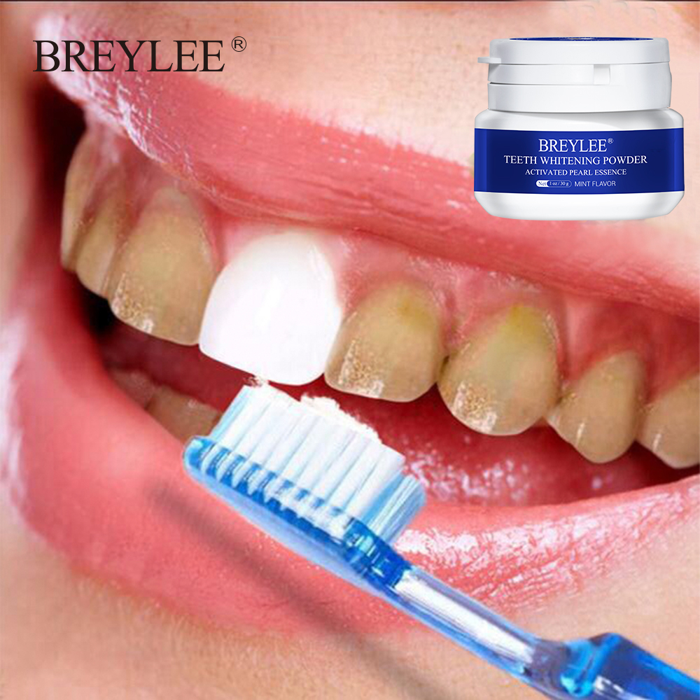 BREYLEE Teeth Whitening Powder Remove Plaque Stains White Tooth Dental Tools Oral Hygiene Smile White Toothbrush Cleaning 30g