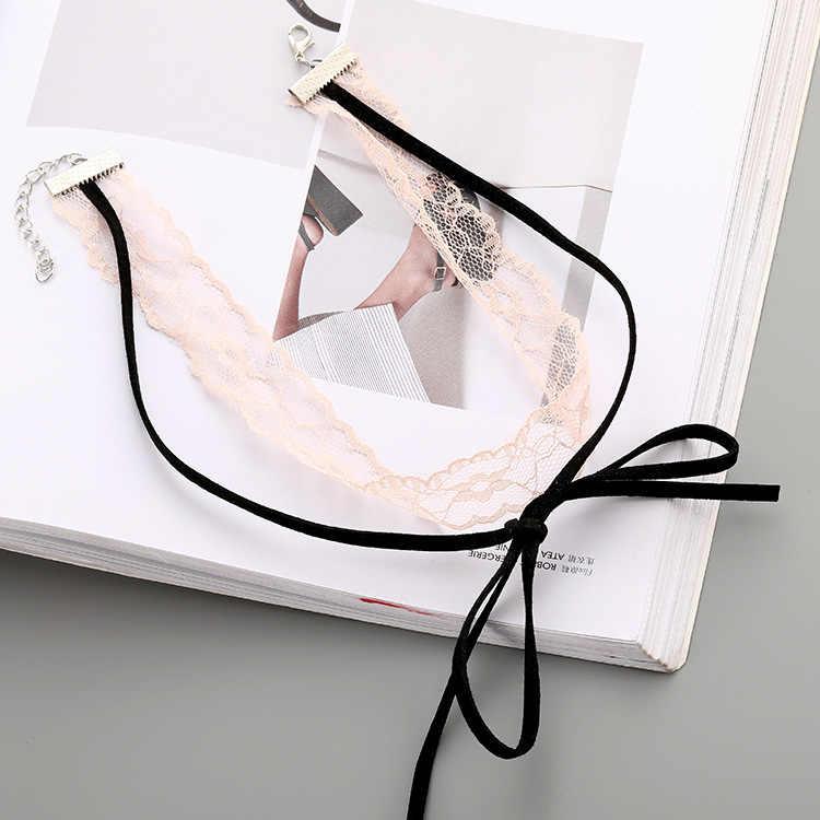 Versão coreana Do Super Fadas Neckband Vermelho Net Simples Estudante Clavícula Cadeia Laço Colar De Corda De Couro Preto Venda Quente