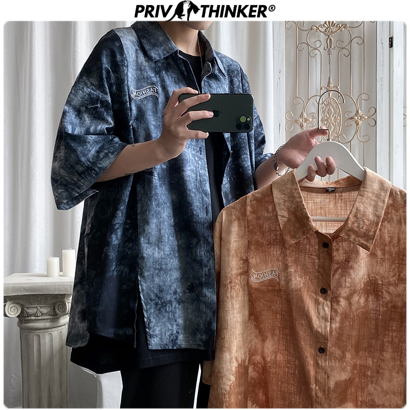 Privathinker Men New Summer Tie-dye Shirts 2020 Men Harajuku Short Sleeve Streetwear Hip Hop Clothes Male Fashions Shirts Tops