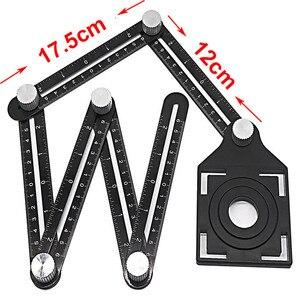 Image 3 - Multi Angle Measuring Ruler Protractors Adjustable 6 sides ruler Floor Tile Hole Locator Glass Woodworking Universal Puncher