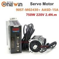 90ST M02430 750W 220V AC servo motor driver kit 3000rpm 2.4N.m match driver AASD 15A permanent magnet