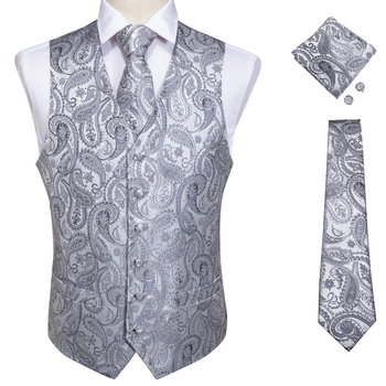 Vests For Men Slim Fit Mens Wedding Suit Vest Casual Sleeveless Formal Business Male Waistcoat Hanky Necktie Bow Tie Set DiBanGu 19