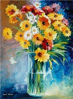 hand painted wall art knife painting floral in vase Leonid Afremov artist canvas painting reproduction home decoration
