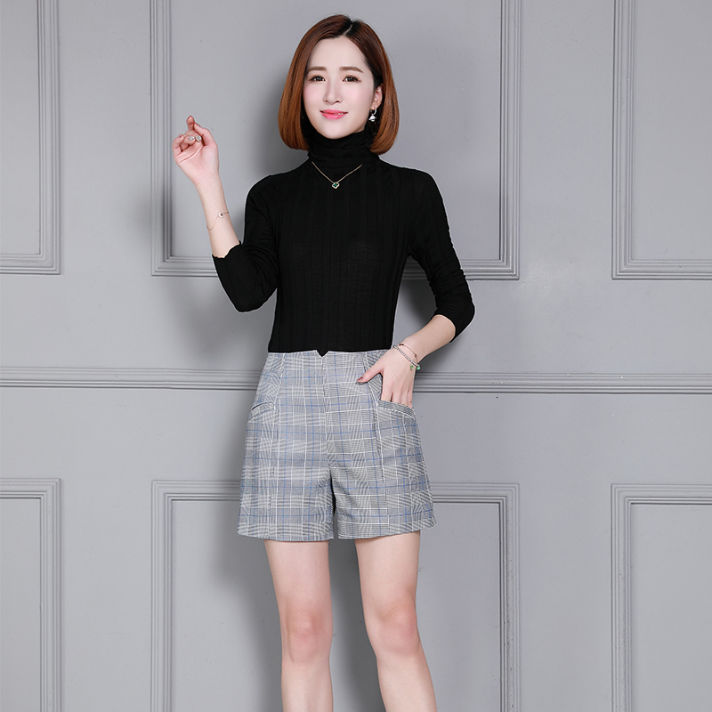 2020 Top Brand Women Natural Genuine Leather Sheepskin Loose  Shorts Slim Fit Plaid Printed High Waist Streetwear Female Shorts