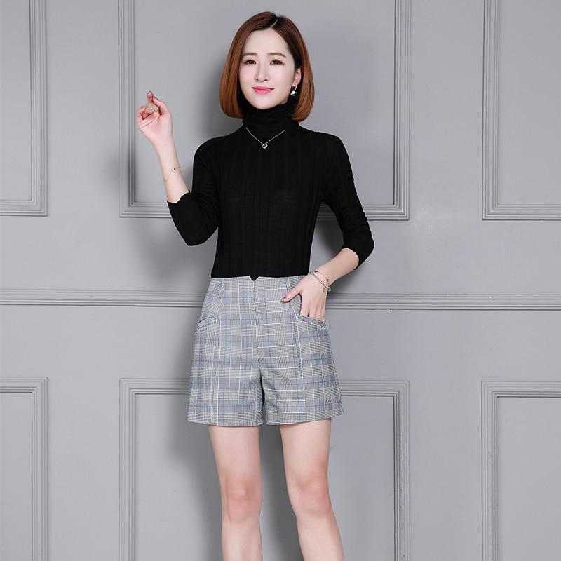 2020 Top Brand Women Natural Genuine Leather Sheepskin Loose  Shorts Slim Fit Plaid Printed High Waist Streetwear Female Shorts