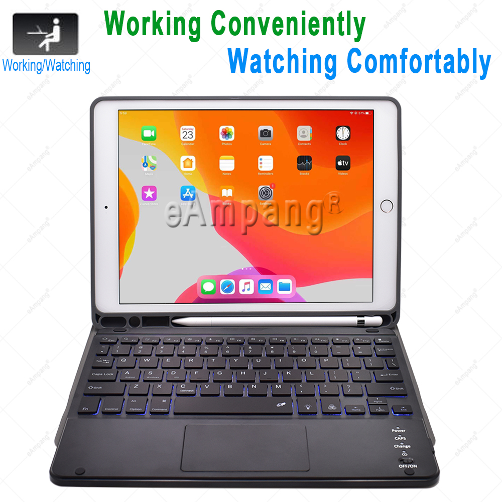 Touchpad Generation 7th A2198 Case For Backlit with 10.2 iPad Keyboard A2232 2019 8th A2200