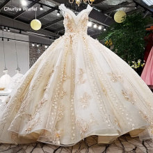 LS01474 gold champagne luxury grown V neck colorful 3D flowers keyhole back cap sleeves super luxury big long tail wedding dress(China)