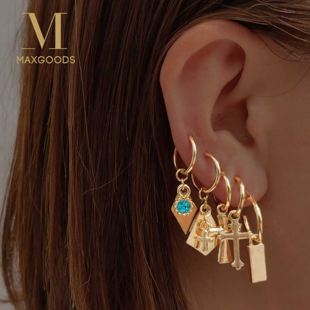 Cartilage Cross Heart Earring Boho Style Endless Drop Earrings For Women Gold Color Drop Earrings Jewelry For Girls Women Gift