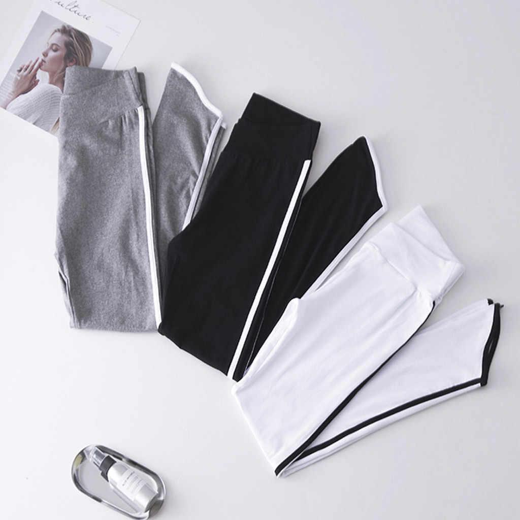 2019 kobiet w ciąży po bokach w paski bawełniane skinny legginsy ciążowe wysoka talia rozciągnięte spodnie brzuch ołówkowe spodnie elastyczne