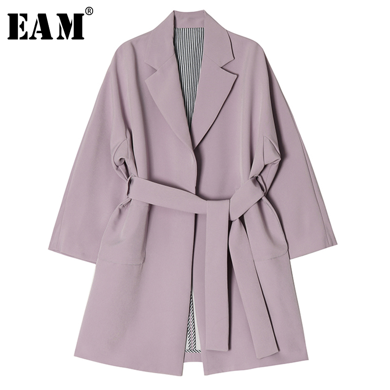 [EAM] Women Apricot Loose Big Size Bandage Trench New Lapel Long Sleeve Loose Fit Windbreaker Fashion Autumn Winter 2019 1B539