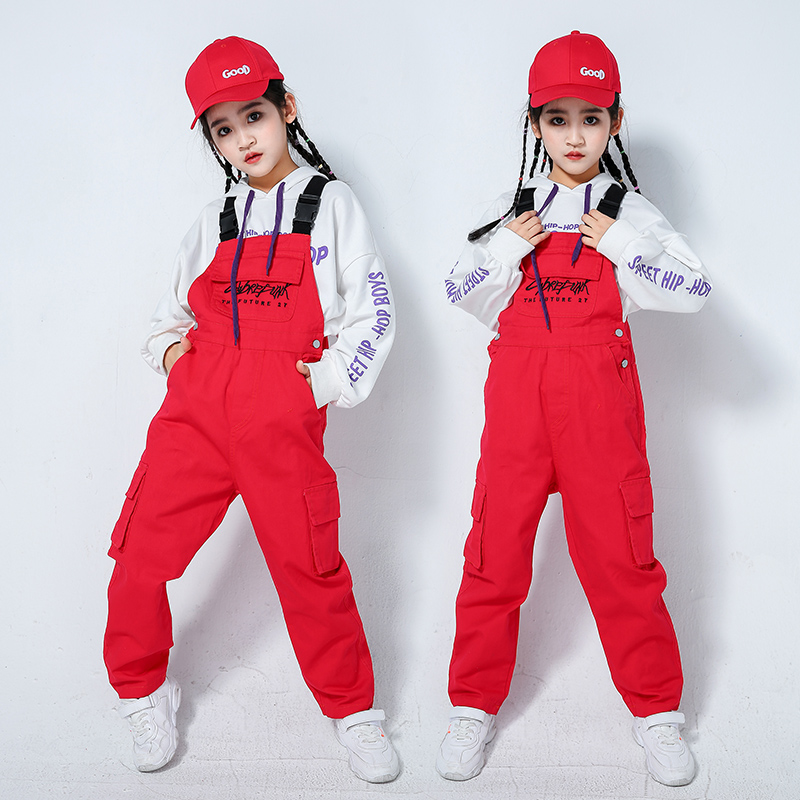 Ropa Hip Hop Kids Jazz Dance Clothes Girl Stage Dancewear Hoodies Red Overall Chidren Performance Dance Costume Hiphop Girl 1398