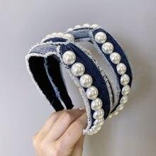 Женская джинсовая повязка на голову с бантом и жемчужинами