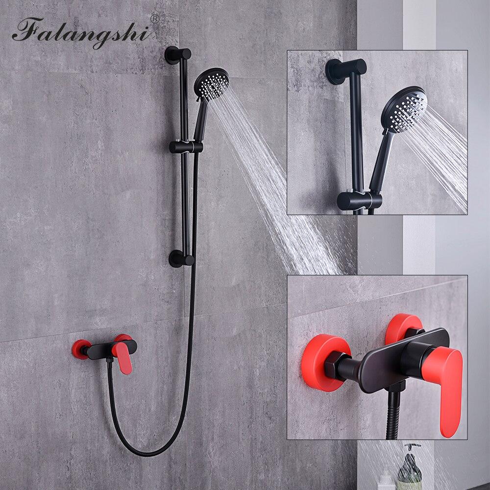 Черный смеситель для душа, смеситель для ванны из меди и латуни, смеситель для душа с ручным душем, настенный кран для ванной комнаты WB1606