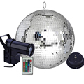 Вращающийся стеклянный диско-шар Thrisdar DIA25 см, 30 см, с дистанционным управлением, RGB луч, Pinspot, прожексветильник вечерние ринки, свадьбы, сценич...
