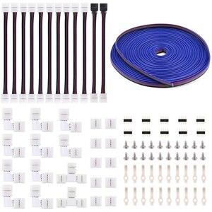 5050 4Pin комплект светодиодных лент-10 мм RGB комплект светодиодных коннекторов включает в себя 32,8 фута RGB Удлинительный кабель, 12X светодиодные п...