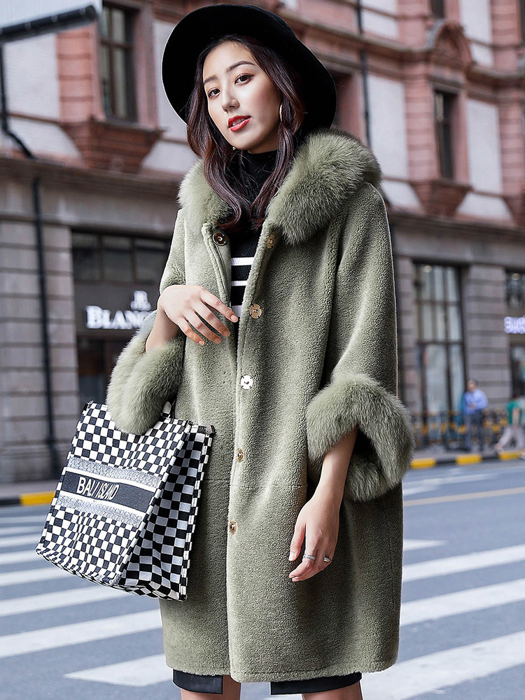 Shearling Sheep Real Fur Coat Female Wool Coats Winter Jacket Women Fox Fur Collar Korean Long Jackets Chaqueta Mujer MY S S