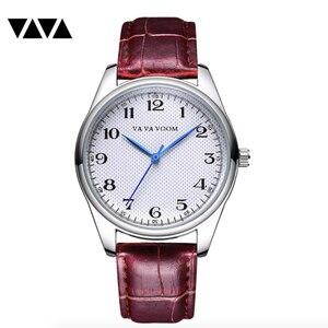 Image 5 - Мужские кварцевые часы с синими указателями, мужские часы с узором в клетку, черные, коричневые кожаные водонепроницаемые спортивные часы, мужские часы в подарок
