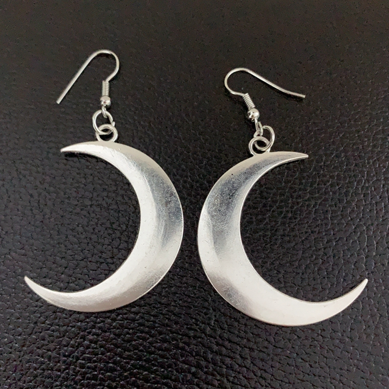 Crescent Earrings Mysterious Gothic Jewelry Moon Witch Celtic Pagan Viken Moon God Moon Phase Witch Goddess Fashion Woman Gift