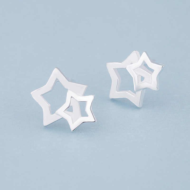 XIYANIKE 925 argent Sterling offre spéciale creux cinq branches étoile boucles d'oreilles pour les femmes conception créative petites boucles d'oreilles bijoux