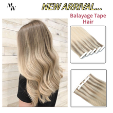 MW Balayage Ombre Tape In 100% Real Human Hair Extensions Machine Remy Double Sided Adhesive Skin Weft Hair Natural Blonde