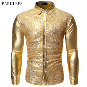 Image 3 - Luxury Red Glitter Sequin Shirt Men Long Sleeve Mens Shiny Disco Party Shirts Casual Slim Fit Stage Dance Prom Costume Chemise