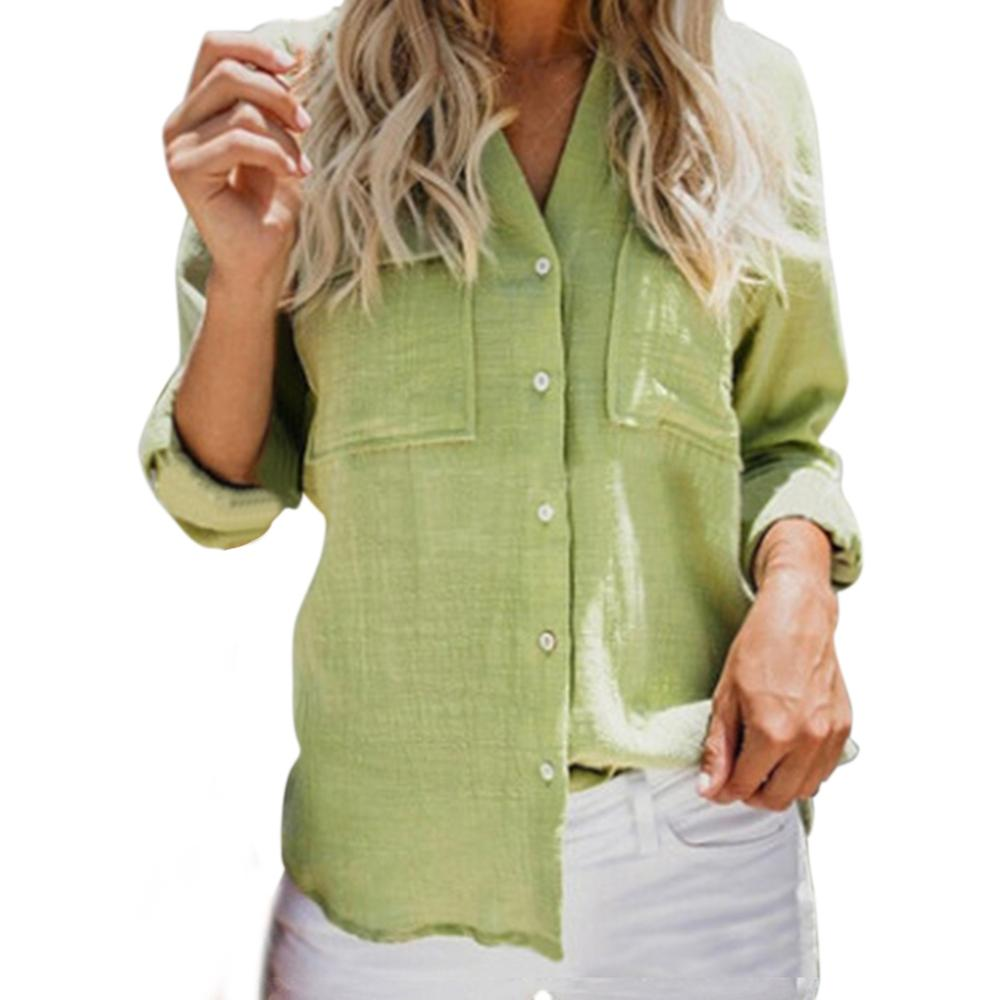 Women Vintage Cotton And Linen Solid Color Shirt Fashion New Long-sleeved Lapel Shirt Two Pockets Blouse